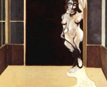 Female nude standing in doorway, par Francis Bacon