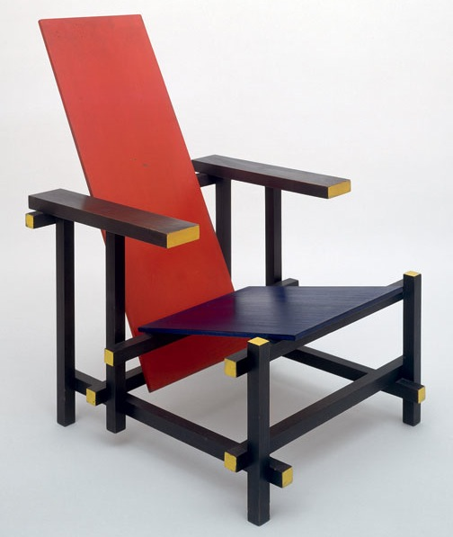 chaise rouge bleu par gerrit rietveld miam. Black Bedroom Furniture Sets. Home Design Ideas